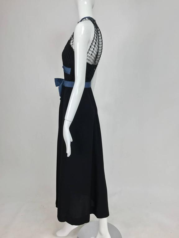 Women's Mainbocher 1946 black crepe and net dress with hood estate of Ruth Gordon  For Sale