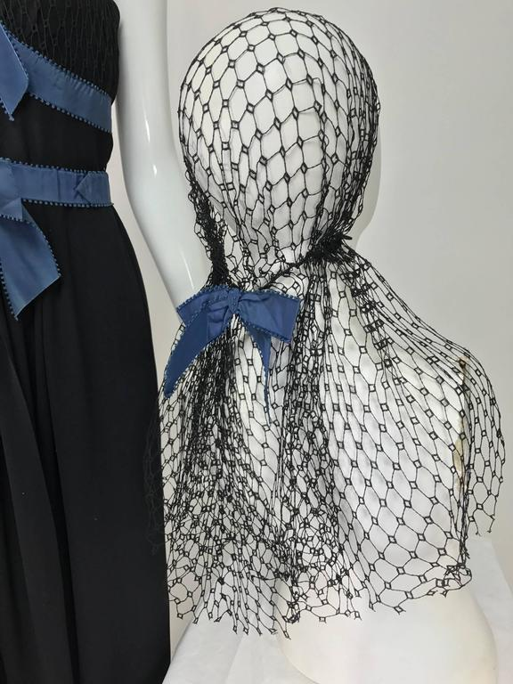 Mainbocher 1946 black crepe and net dress with hood estate of Ruth Gordon  For Sale 4