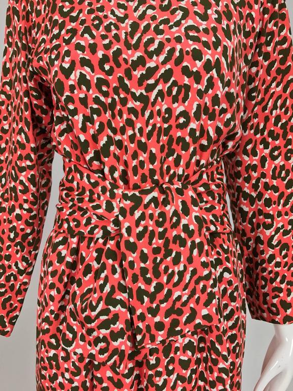 Yves Saint Laurent Rive Gauche cheetah print button back wrap waist dress 1980s 2