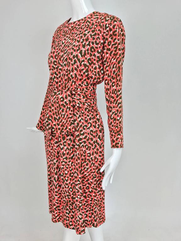 Yves Saint Laurent Rive Gauche cheetah print button back wrap waist dress 1980s 3
