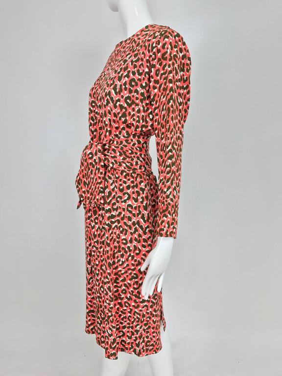 Yves Saint Laurent Rive Gauche cheetah print button back wrap waist dress 1980s 4
