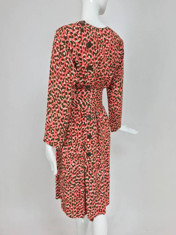 Yves Saint Laurent Rive Gauche cheetah print button back wrap waist dress 1980s 5