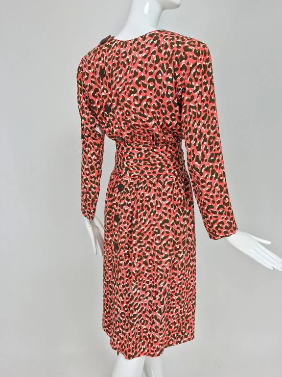 Yves Saint Laurent Rive Gauche cheetah print button back wrap waist dress 1980s 6