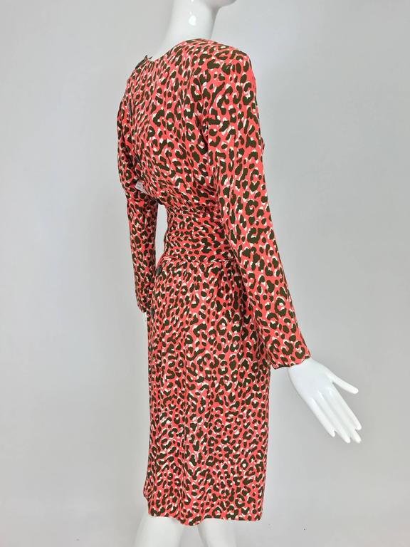 Yves Saint Laurent Rive Gauche cheetah print button back wrap waist dress 1980s 7