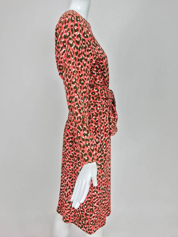 Yves Saint Laurent Rive Gauche cheetah print button back wrap waist dress 1980s 8