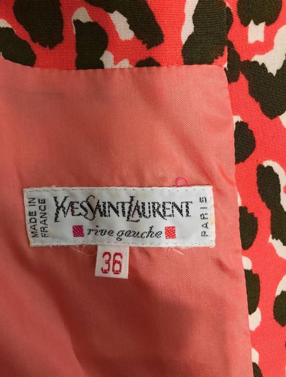 Yves Saint Laurent Rive Gauche cheetah print button back wrap waist dress 1980s 10