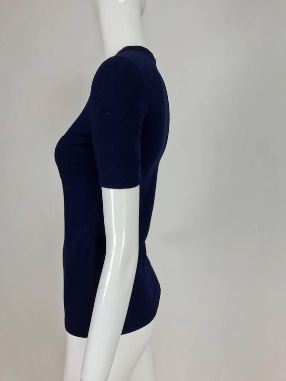 Vintage Courreges navy blue knit double pocket poor boy sweater 1970s In Excellent Condition For Sale In West Palm Beach, FL