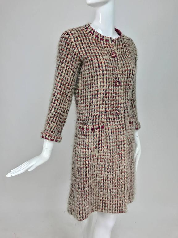 Vintage Chanel Haute Couture ribbon trim wool coat printed lining early 1960s 4