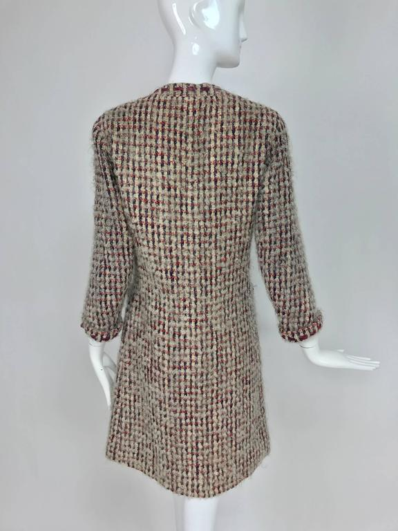 Vintage Chanel Haute Couture ribbon trim wool coat printed lining early 1960s 6