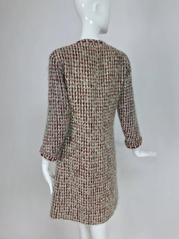 Vintage Chanel Haute Couture ribbon trim wool coat printed lining early 1960s 7