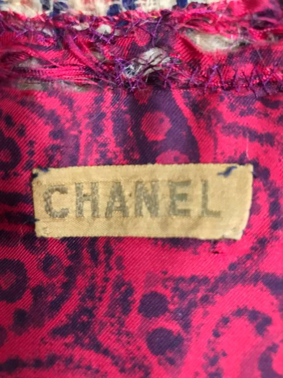 Vintage Chanel Haute Couture ribbon trim wool coat printed lining early 1960s 10