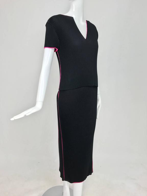 Issey Miyake black and hot pink pleated V neck top and narrow skirt  3
