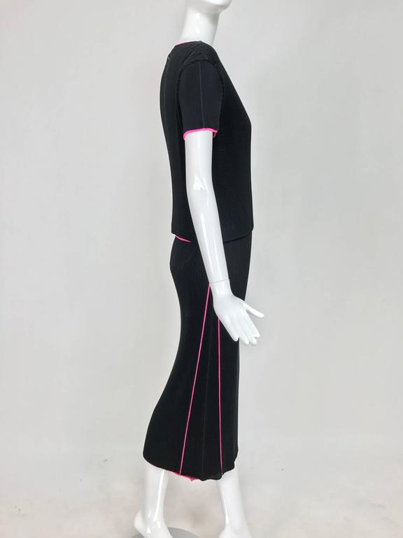 Issey Miyake black and hot pink pleated V neck top and narrow skirt  4
