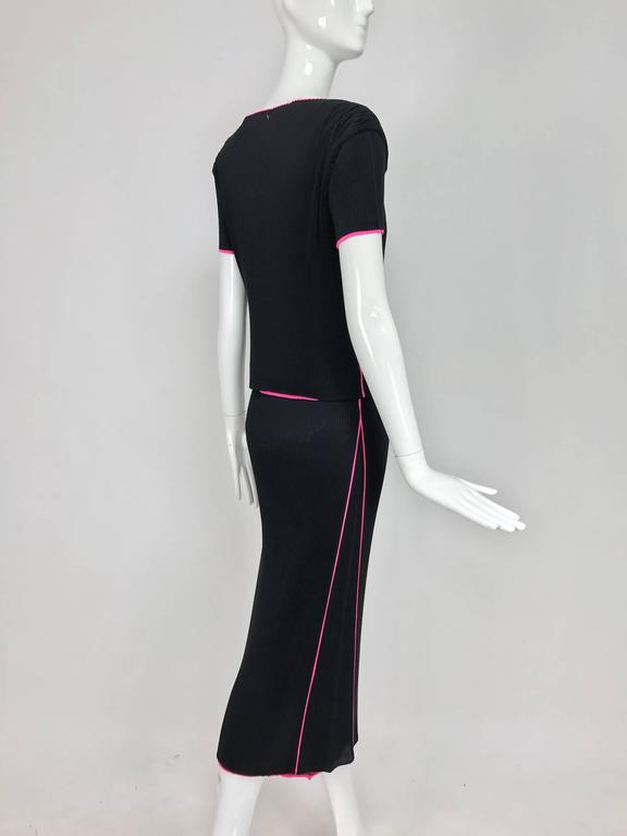 Issey Miyake black and hot pink pleated V neck top and narrow skirt  5