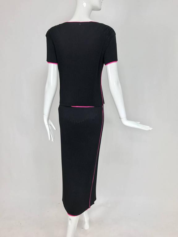Issey Miyake black and hot pink pleated V neck top and narrow skirt  6