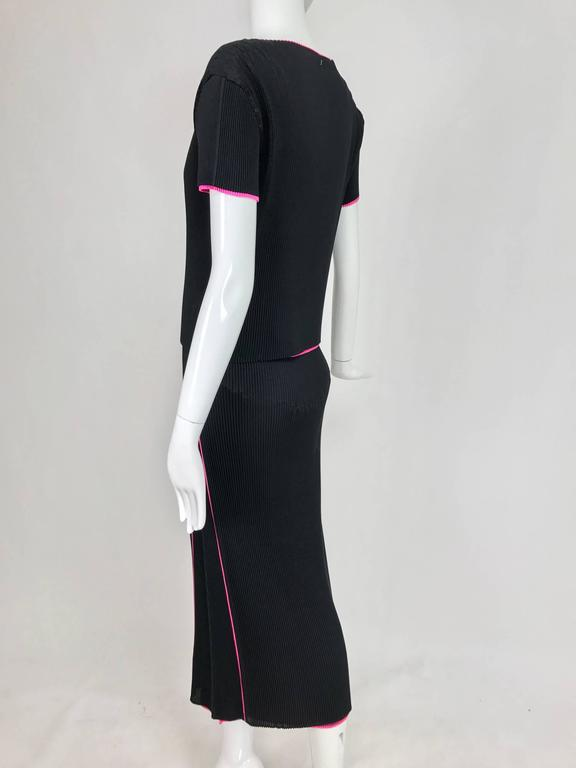 Issey Miyake black and hot pink pleated V neck top and narrow skirt  7