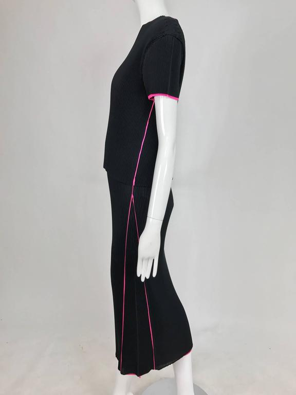 Issey Miyake black and hot pink pleated V neck top and narrow skirt  8