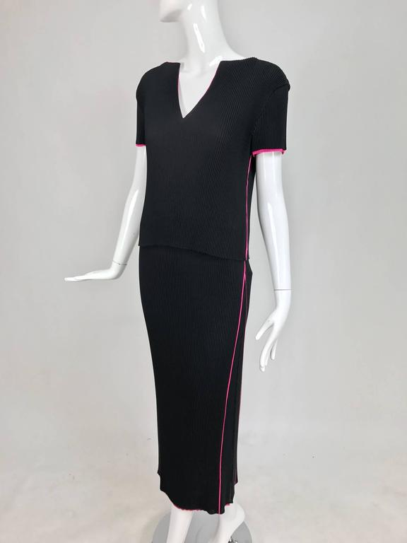 Issey Miyake black and hot pink pleated V neck top and narrow skirt  9