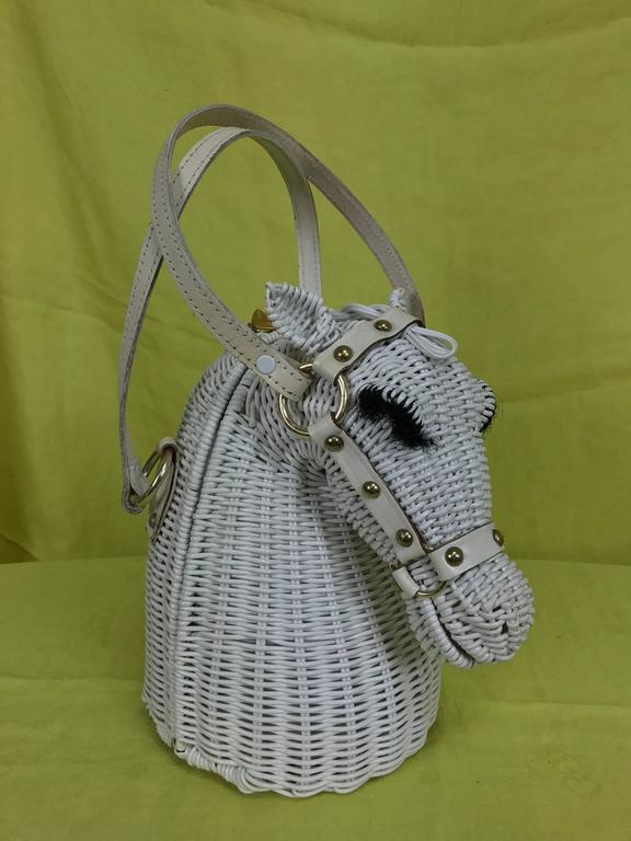 Vintage Marcus Brothers white wicker horse head with eyelashes handbag 1960s 2