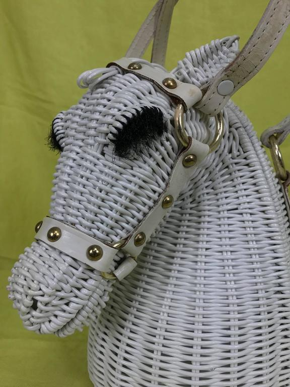 Vintage Marcus Brothers white wicker horse head with eyelashes handbag 1960s 3