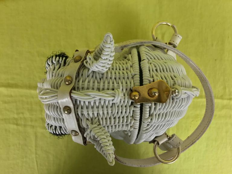 Vintage Marcus Brothers white wicker horse head with eyelashes handbag 1960s 6