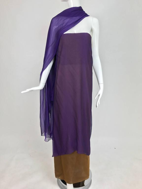 Chado Ralph Rucci silk chiffon layered, draped gown with train in purple and tobacco...Layered iridescent silk chiffon in tobacco brown, strapless column gown with deep center back hem vent...Attached at the back is a very long purple silk chiffon