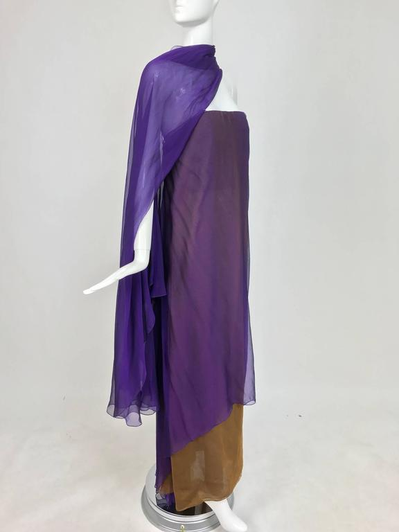 Black Chado Ralph Rucci layered iridescent silk chiffon gown purple over tobacco For Sale
