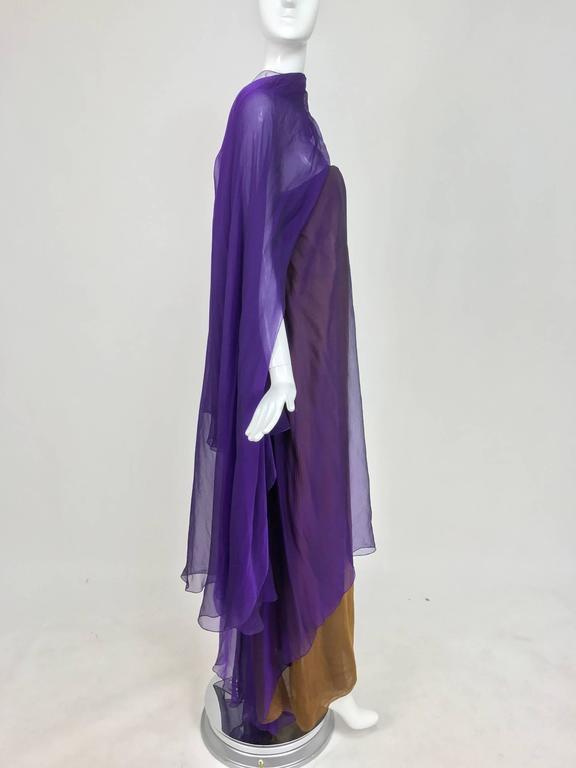 Chado Ralph Rucci layered iridescent silk chiffon gown purple over tobacco In Excellent Condition For Sale In West Palm Beach, FL