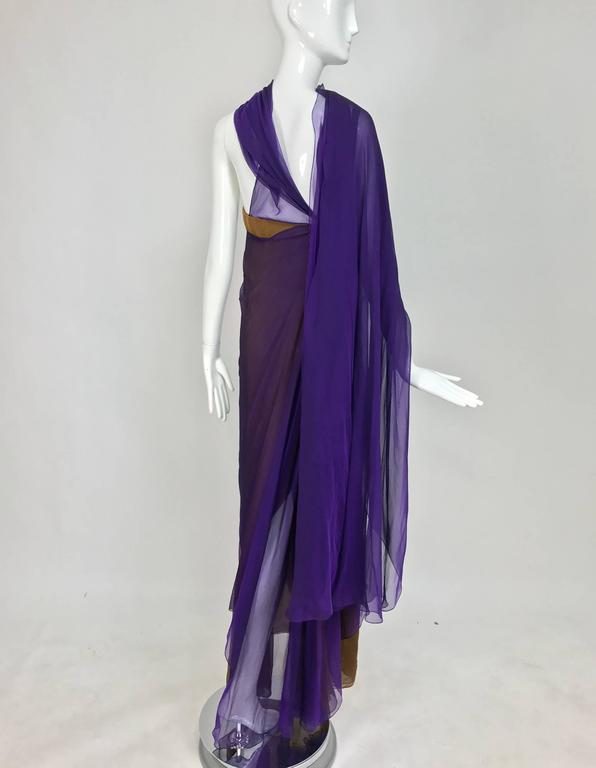 Chado Ralph Rucci layered iridescent silk chiffon gown purple over tobacco For Sale 1