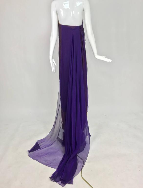 Chado Ralph Rucci layered iridescent silk chiffon gown purple over tobacco For Sale 2