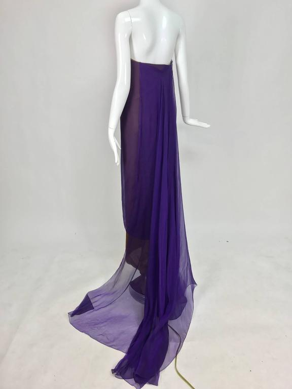 Chado Ralph Rucci layered iridescent silk chiffon gown purple over tobacco For Sale 3