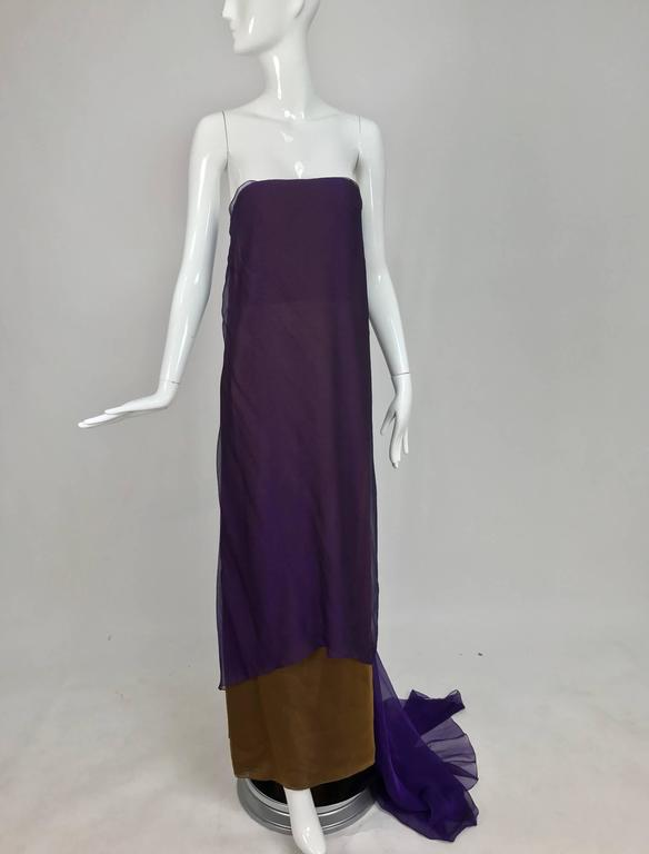 Chado Ralph Rucci layered iridescent silk chiffon gown purple over tobacco For Sale 4