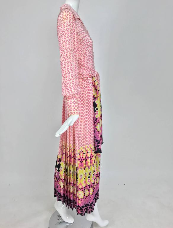 Women's Vintage Martha Boutique silk border print pleated maxi dress 1970s For Sale