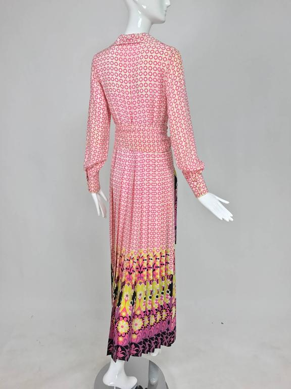 Vintage Martha Boutique silk border print pleated maxi dress 1970s For Sale 2