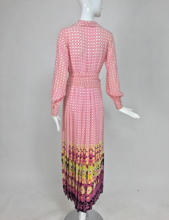 Vintage Martha Boutique silk border print pleated maxi dress 1970s For Sale 3