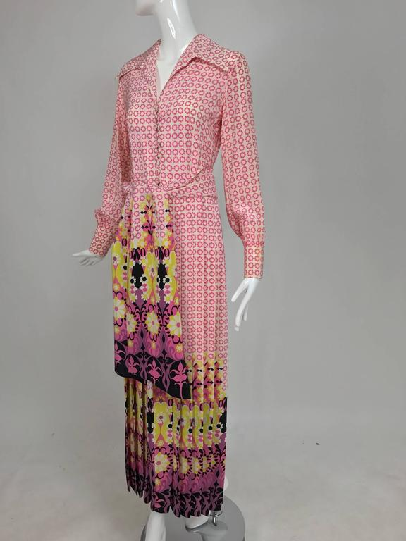 Vintage Martha Boutique silk border print pleated maxi dress 1970s For Sale 4