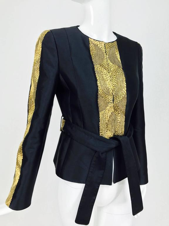 Black Rena Lange black wool and silk jacket with heavy gold cord embroidery  For Sale