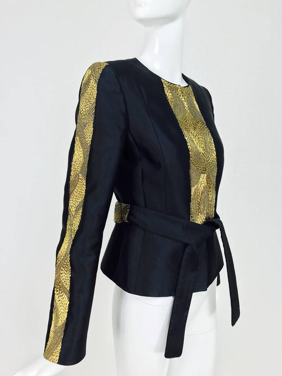 Rena Lange black wool and silk jacket with heavy gold cord embroidery  In Excellent Condition For Sale In West Palm Beach, FL