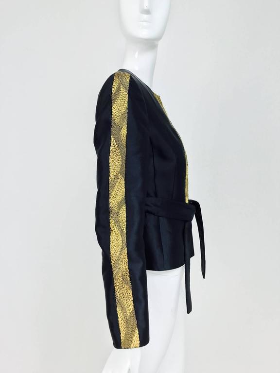 Women's Rena Lange black wool and silk jacket with heavy gold cord embroidery  For Sale