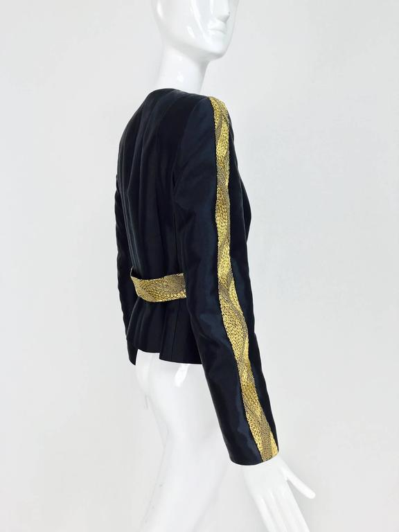 Rena Lange black wool and silk jacket with heavy gold cord embroidery  For Sale 1