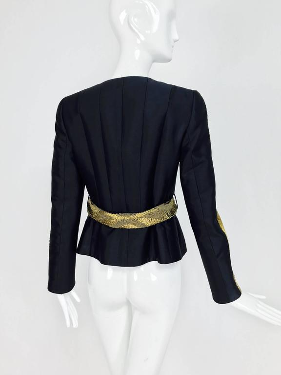 Rena Lange black wool and silk jacket with heavy gold cord embroidery  For Sale 2