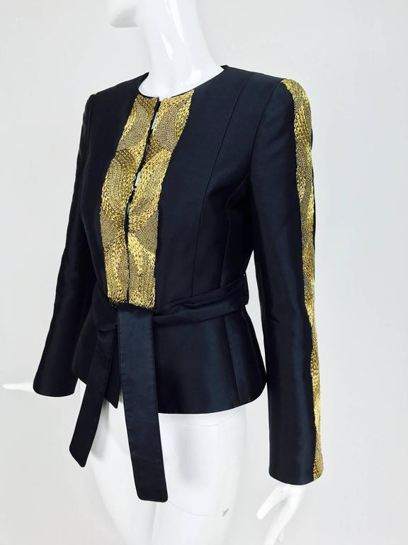 Rena Lange black wool and silk jacket with heavy gold cord embroidery  For Sale 4