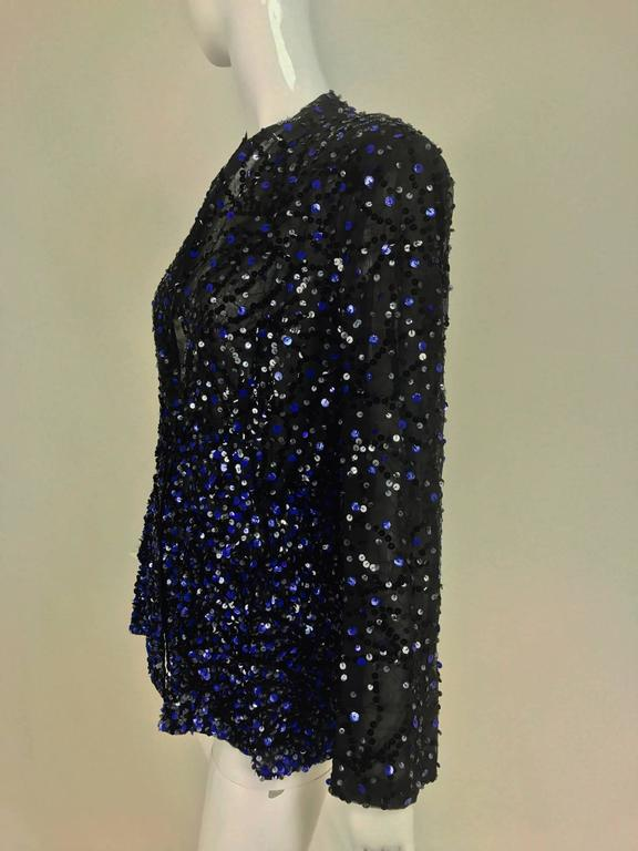 Black Genny Sequined black silk organza open front jacket NWt For Sale