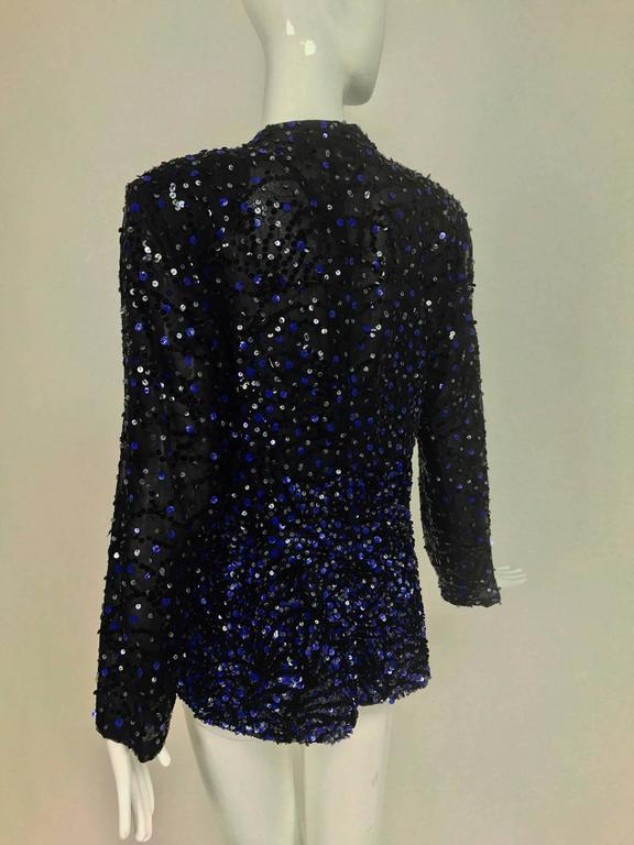 Genny Sequined black silk organza open front jacket NWt 4