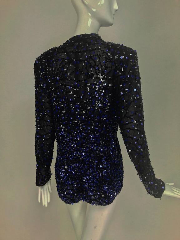 Genny Sequined black silk organza open front jacket NWt 5