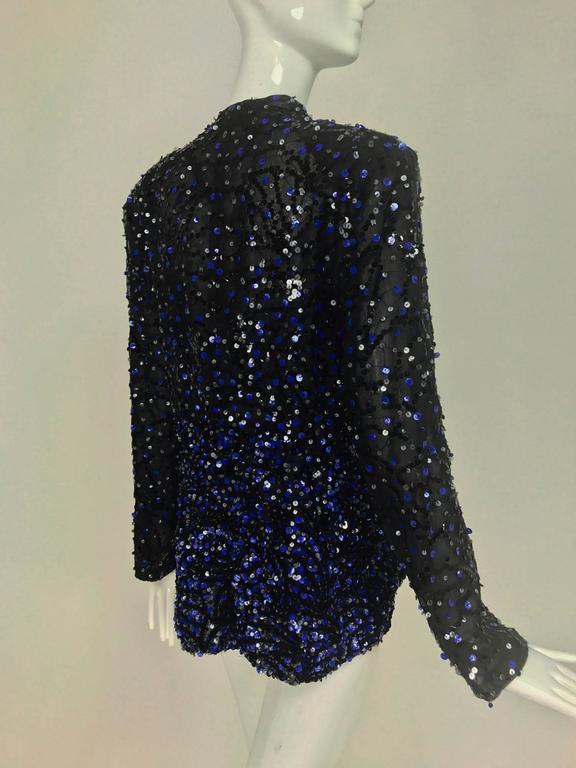 Genny Sequined black silk organza open front jacket NWt 6