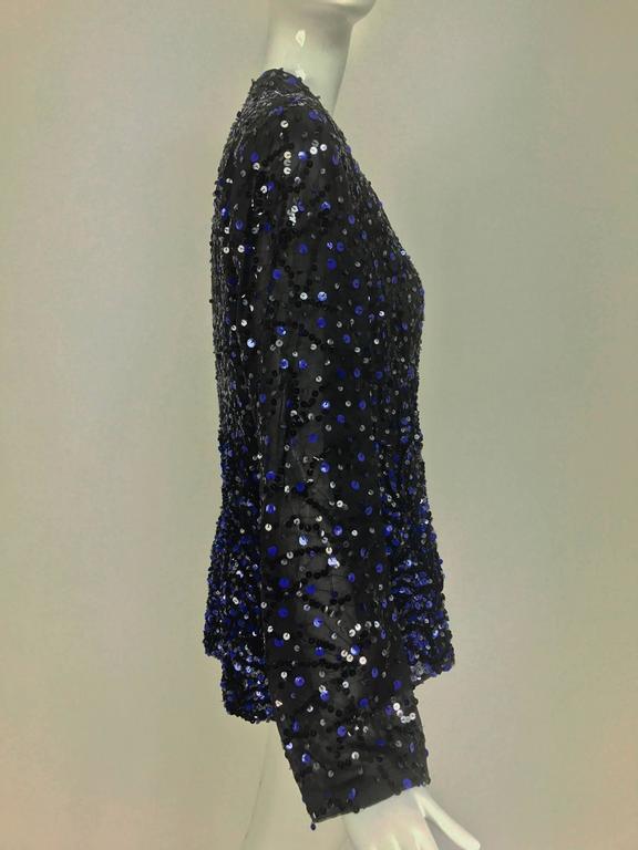 Genny Sequined black silk organza open front jacket NWt 7
