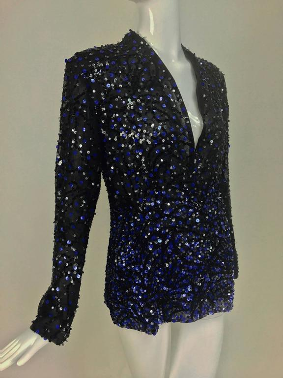 Genny Sequined black silk organza open front jacket NWt 8