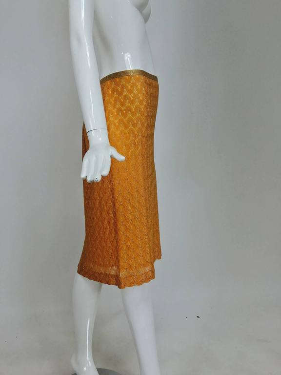 Gold Missoni coral and gold metallic knit straight skirt unworn For Sale