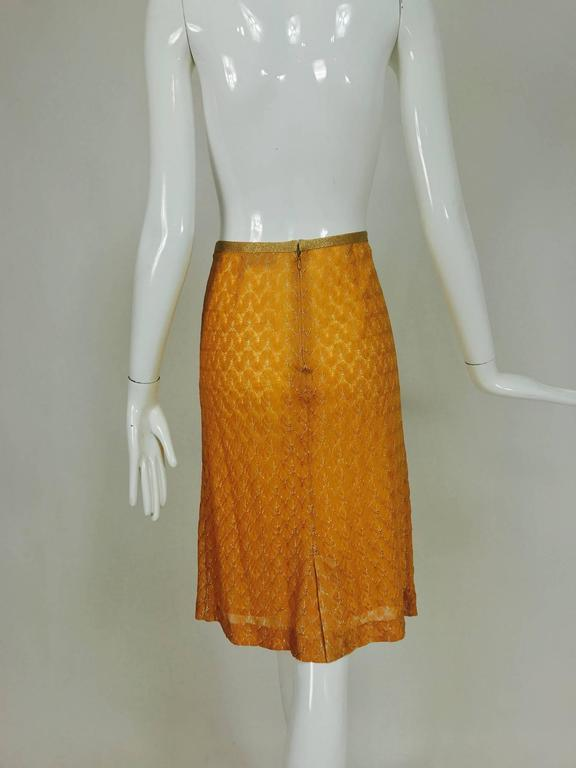 Missoni coral and gold metallic knit straight skirt unworn In New Never_worn Condition For Sale In West Palm Beach, FL
